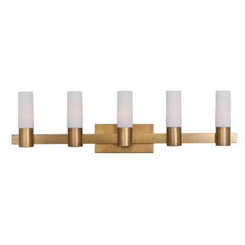 Maxim Lighting International Contessa Natural Aged Brass Five Light Bath Vanity with Satin White Glass Shade