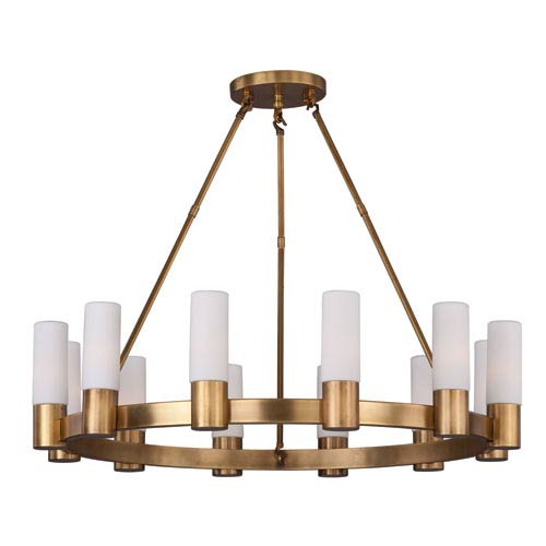 Maxim Lighting International Contessa Natural Aged Brass 12-Light Single-Tier Chandelier with Satin White Glass Shade