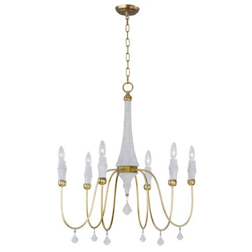 Claymore Claystone and Gold Leaf Six-Light Chandelier