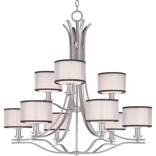 Maxim Lighting International Orion Satin Nickel Nine-Light Multi-Tier Chandelier with Satin White Glass