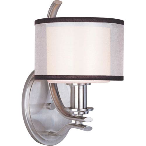 Maxim Lighting International Orion Satin Nickel One-Light Sconce with Satin White Glass