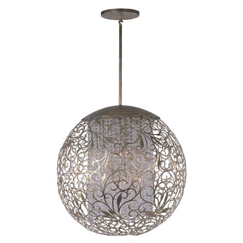 Maxim Lighting International Arabesque Golden Silver 13-Light Single Pendant with Beveled Crystal Glass