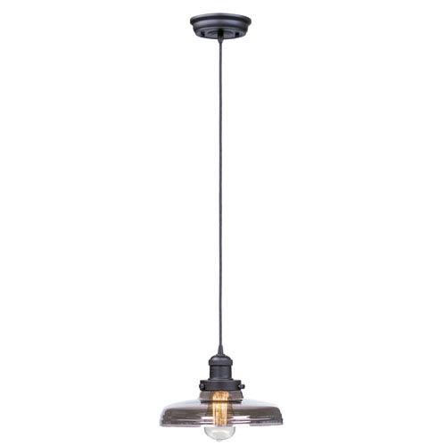 Mini Hi-Bay Bronze One-Light Six-Inch Mini Pendant with Mirror Smoke Glass and Bulb