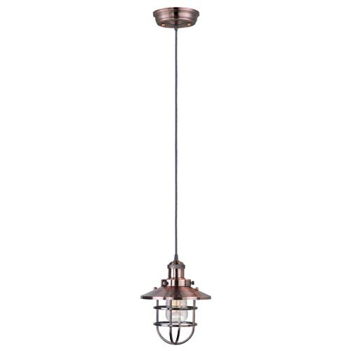 Mini Hi-Bay Antique Copper One-Light Thirteen-Inch Mini Pendant with Bulbs