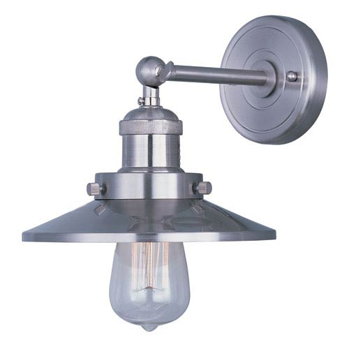 Mini Hi-Bay Satin Nickel One-Light Eight-Inch Wall Sconce with Bulb