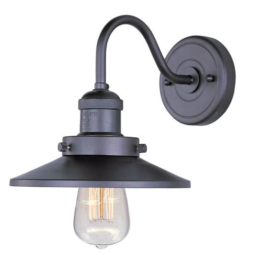 Mini Hi-Bay Bronze One-Light Seven-Inch Wall Sconce with Curved Arm and Bulbs
