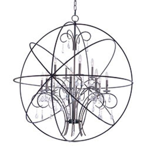 Orbit Anthracite and Polished Nickel 12-Light Chandelier