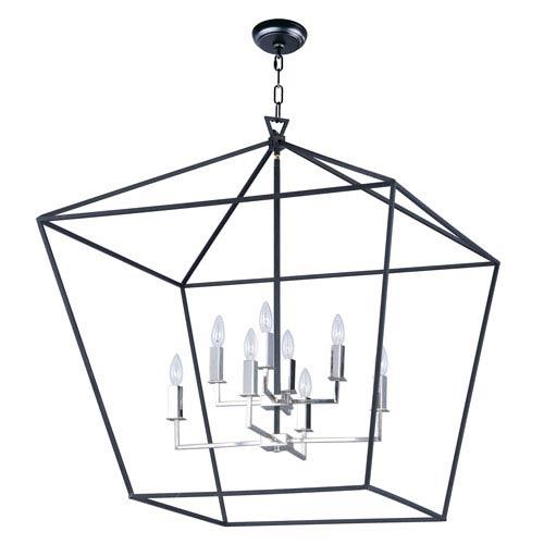 Abode Textured Black and Nickel Eight-Light Lantern Pendant