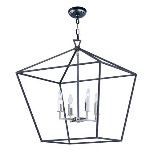Abode Textured Black and Nickel 25-Inch Four-Light Lantern Pendant
