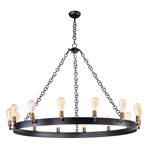 Noble Black and Natural Aged Brass 14-Light Chandelier