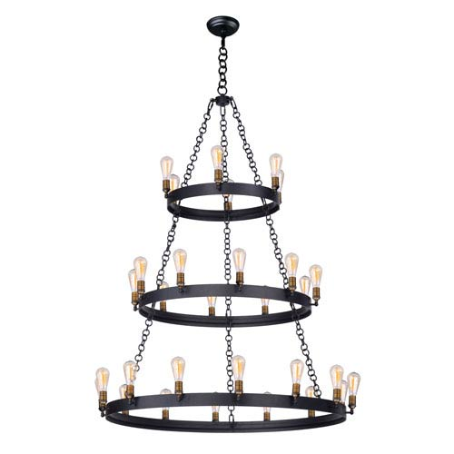 Black and Natural Aged Brass 30-Light Chandelier