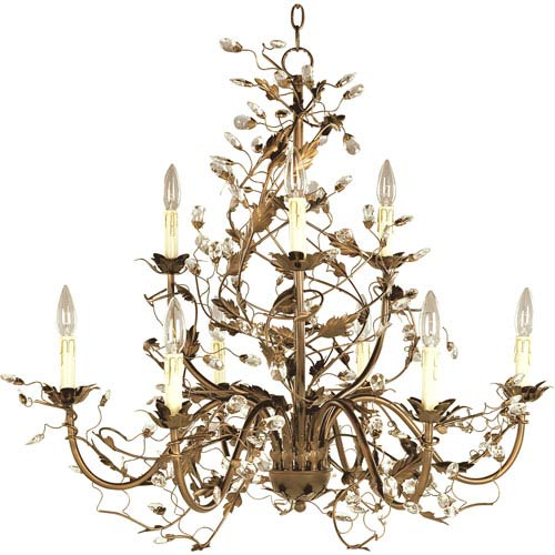 Elegante Etruscan Gold Nine-Light Chandelier