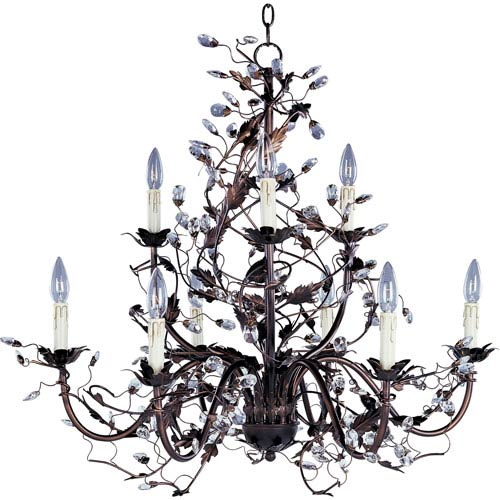 Elegante Oil Rubbed Bronze Nine-Light Chandelier