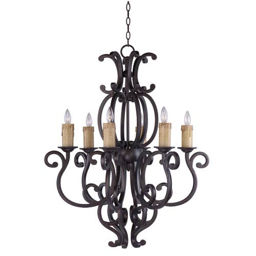 Maxim Lighting International Richmond Colonial Umber 30.5-Inch Wide Six-Light Single-Tier Chandelier