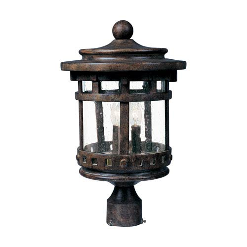 Santa Barbara Sienna Three-Light Outdoor Post Light with Seedy Glass