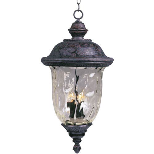 Maxim Lighting International Carriage House Oriental Bronze Three-Light Outdoor Pendant with Water Glass