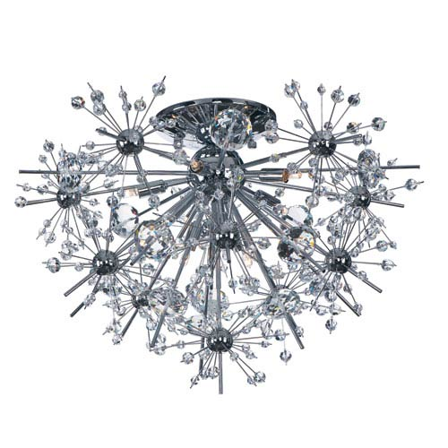 Maxim Lighting International Starfire Polished Chrome Eight Light Flush Mount with Beveled Crystal Glass