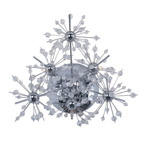 Starfire Polished Chrome Three Light Wall Sconce with Beveled Crystal Glass