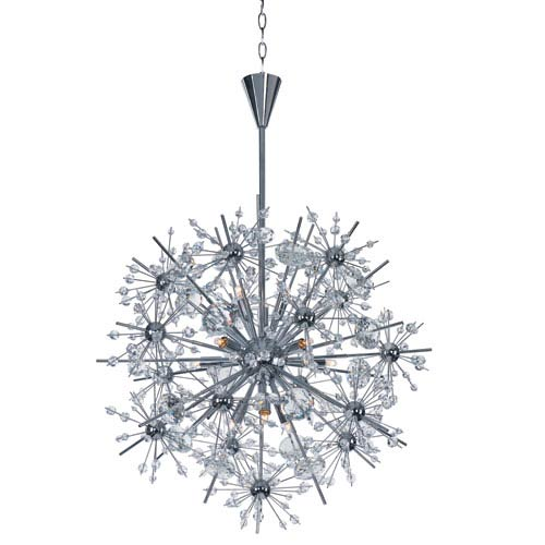 Starfire Polished Chrome 11-Light Pendant with Beveled Crystal Glass
