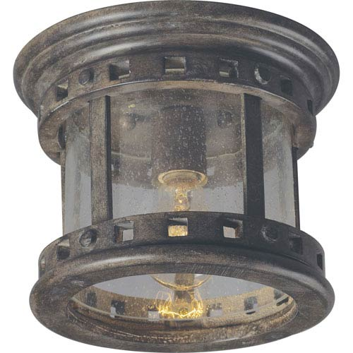 Santa Barbara Sienna One-Light Outdoor Ceiling Mount with Seedy Glass