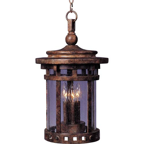 Santa Barbara Sienna Three-Light Outdoor Pendant with Seedy Glass