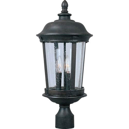 Maxim Lighting International Dover Bronze Three-Light Outdoor Post Light with Seedy Glass