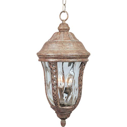 Whittier Earth Tone Three-Light Outdoor Pendant with Water Glass