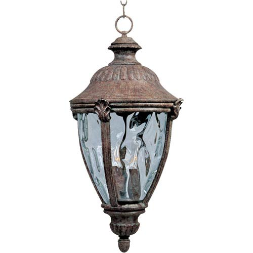 Morrow Bay Earth Tone Three-Light Outdoor Pendant with Water Glass