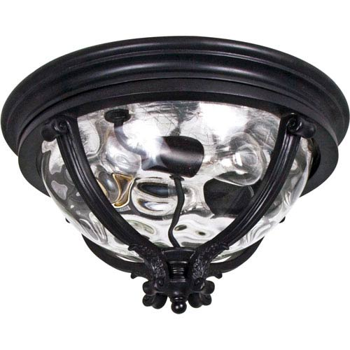Camden Black Three-Light Outdoor Ceiling Mount with Water Glass