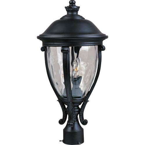 Camden Black Three-Light Outdoor Post Light with Water Glass
