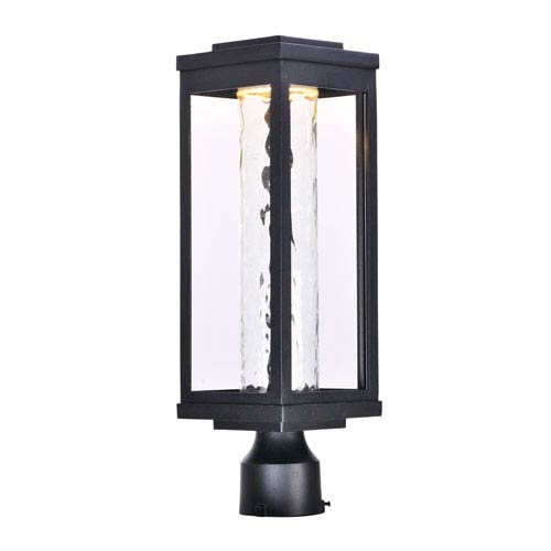 Salon LED Black 20-Inch LED Outdoor Post with Water Glass