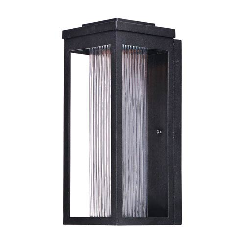 Maxim Lighting International Salon LED Black 15-Inch LED Outdoor Wall Mount with Clear Ribbed Glass