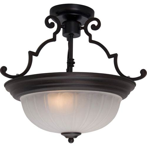 Maxim Lighting International Maxim Oil Rubbed Bronze Two-Light Semi-Flush with Frosted Glass