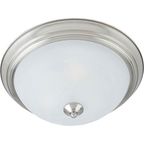 Essentials - 584x Satin Nickel Three-Light Flushmount with Marble Glass