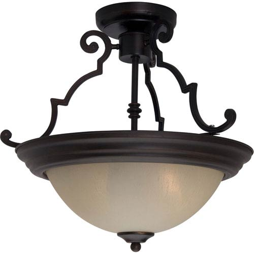 Maxim Lighting International Maxim Oil Rubbed Bronze Two-Light Semi-Flush with Wilshire Glass