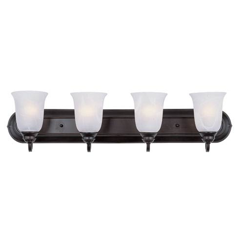 Essentials - 713x Oil Rubbed Bronze Four Light Bath Vanity with Marble Glass