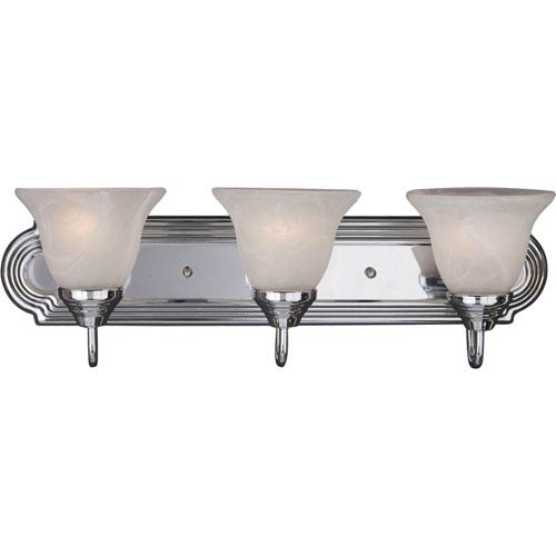 Maxim Lighting International Essentials Polished Chrome Three-Light Bath Light with Marble Glass