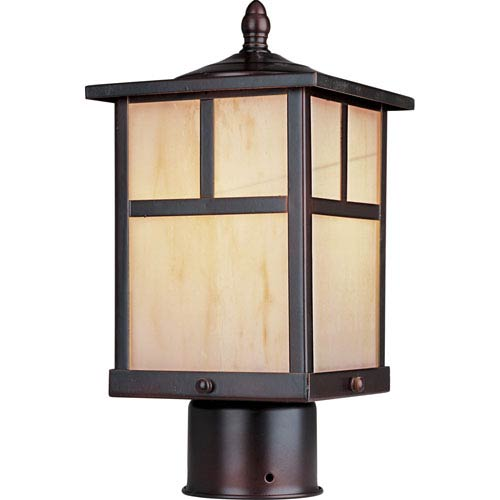 Maxim Lighting International Coldwater Burnished One-Light Outdoor Post Light with Honey Glass