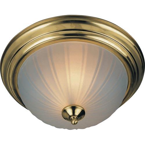 Energy Star Flush Mount Polished Brass Three-Light Energy Star Flush Mount with Frosted Glass