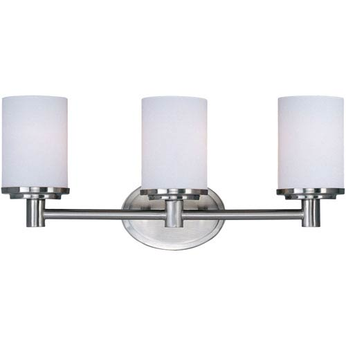 Maxim Lighting International Cylinder Satin Nickel Three-Light Bath Light with Satin White Glass