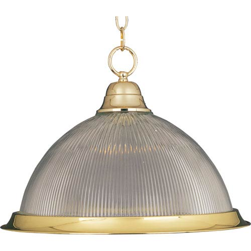 Builder Basics Polished Brass One-Light Pendant with Clear Glass