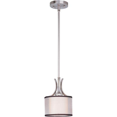 Orion Satin Nickel One-Light Mini Pendant with Satin White Glass