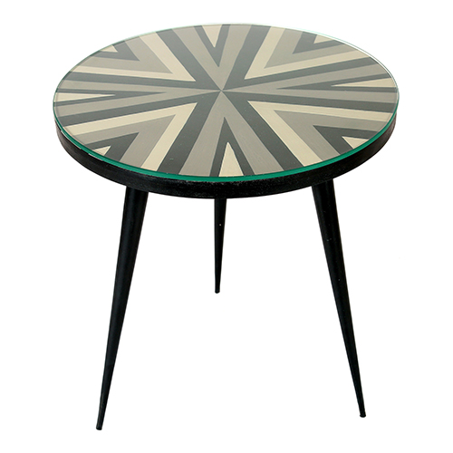 Multicolour Solid Mango Wood Glass Top Accent Table