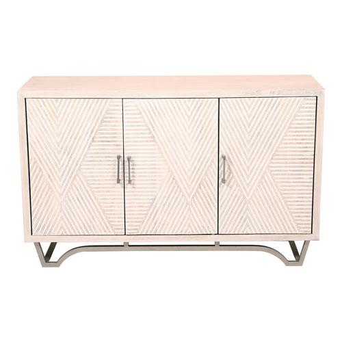 Brice White Solid Mango Wood Four Shelf Sideboard
