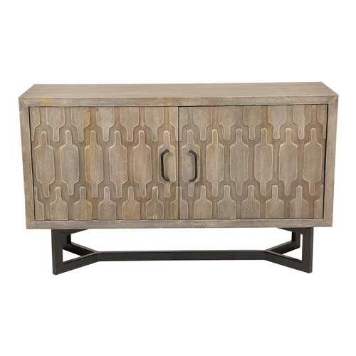 West Light Gray Solid Mango Wood Four Shelf Sideboard