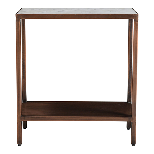 Bottego Antique Copper Solid White Marble Top Accent Table