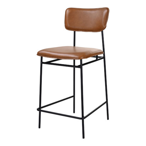 Sailor Brown and Black Counter Stool with Low Backrest