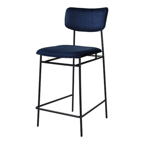 Sailor Blue and Black Counter Stool with Low Backrest