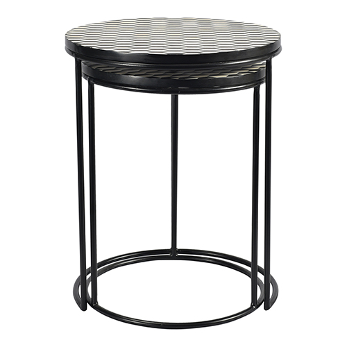 Optic Brass Geometric Patterned Nesting Table, Set Of Two