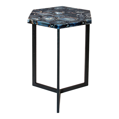 Hexagon Silver Agate 21-Inch Accent Table